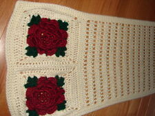 New Handmade Handcrafted Crochet Flower Designed Scarf ~ 18 x 67 inches