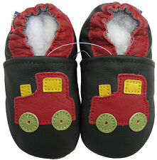 carozoo train black 2-3y soft sole leather toddler shoes slippers