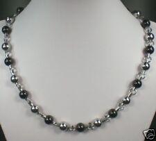 Massive Edelstahl Halskette silber schwarz mit Karabinerverschluß