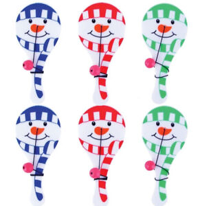 6 Snowman Paddle Bats & Balls - Stocking Toy Loot/Party Filler Kids Christmas