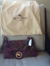 ETRO PURPLE PAISLEY SUEDE MED PURSE NEW WITH TAGS FROM NEIMANS Sale $290