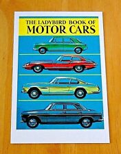 LADYBIRD BOOK COVER POSTCARD ~ MOTOR CARS ~ 1960 DESIGN ~ NEW