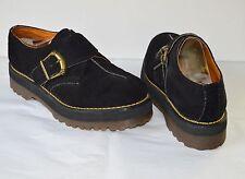Vintage 90's Doc Martens Dr Black Suede Platform Shoes Made in England US 9 uk 8