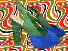 S13✪ 60er 70er Jahre Twiggy Hippie Plateau Schuhe High Heels Peeptoes blau grün