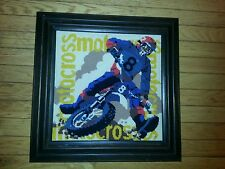 """Finished Wood Framed Cross Stitch Motocross Kids Motorcycle Picture 19 X 19"""""""