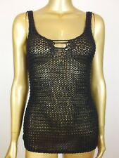 COTTON ON BLACK OPEN CROCHET KNIT TANK  CAMI SINGLET TOP BLOUSE SHIRT XS