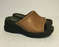 American Eagle Women's Shoes 1485 Leather Sandals Slip On Platform Brown  9M