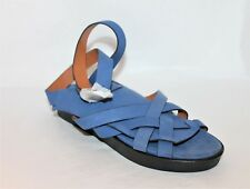 and other stories Designer Blue Leather Ankle Strap Sandals Flats Size 36 NEW