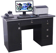 Computer Desk PC Table Home Office Furniture Workstation With Locks in Black Clr