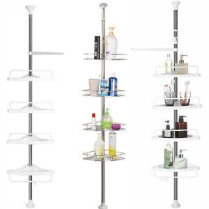 4 Tier No Rust Bathroom Shelf Shower Rack Telescopic Shelves Corner Organiser UK