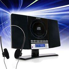 CD-Player Wecker Uhr LCD-Display MP3 AUX schwarz Stereo Anlage Radio + Kopfhörer