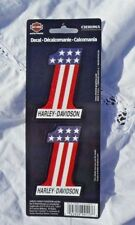"Harley Davidson  #1 Red White Blue Reflective Decal Set Of Two 2"" x 3"" New Licen"