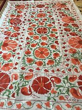 Hand Embroidered Vintage Uzbek Large Wall Decor Tablecloth Quilt Bedding Suzani
