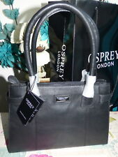 OSPREY LEATHER BLACK SMALL COMPARTMENT GRAB  BAG RRP £175 NWT
