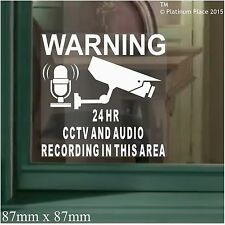 6 x CCTV Camera & Audio Recording Area Warning Window Stickers-Home,Shop Signs