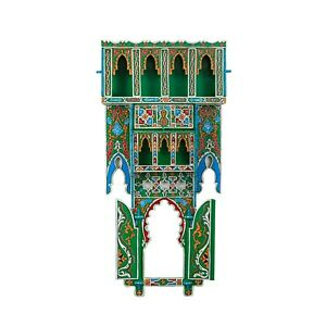 Painted Moroccan shelf, Wall Shelves Floating Shelves Green, Rustic Floating