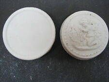 "Antique Parian Porcelain Box Cherub With Beads 3 1/2"""