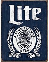 Miller Lite Brewing Beer Bottle Logo Weathered Retro Wall Decor Metal Tin Sign