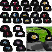 NBA Basketball All Team Logo Black Head Rest Covers Universal Car Truck suv van