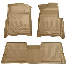 2009-2013 Ford F-150 Husky WeatherBeater Tan Front & 2nd Row Floor Liners