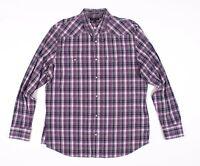 Banana Republic Slim Fit Purple Plaid Pearl Snap Western Shirt Size XL