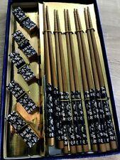 Wooden Bamboo Chopsticks Japanese Sushi Handmade set of 5 Rests Eating tools