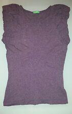 T shirt top donna Benetton maglia viola taglia S maniche giro spalla arricciate