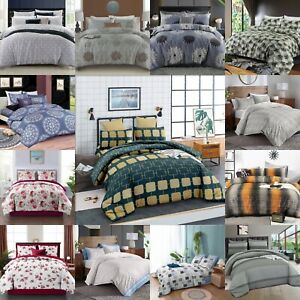 4Pcs Luxury Printed Duvet Cover+Fitted Sheet Bedding Set Single Double King size