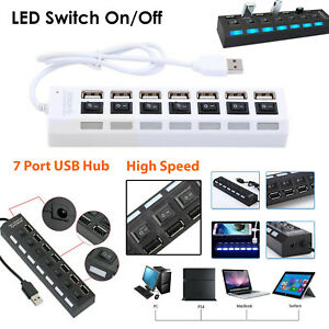 Powerful Hi Speed 7 Port 2.0 USB Hub Splitter Expansion Box For Various Devices