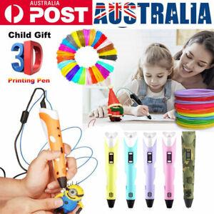 3 Color 3D Printing Pen Starter Display Charger Graffiti Pen Filament Kids Gift