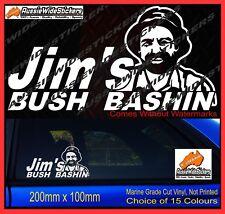Jims stickers BUSH BASHIN for patrol hilux landcruiser Ute 4x4 Funny decal 200mm