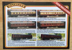 Vintage Mainline Railways New Releases rare A4 flyer L357 Catalogue Model Train