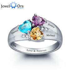 Personalized Engrave Name DIY Birthstone Love Family Ring 925 Sterling Silver