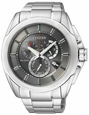 Citizen Eco Drive Chronograph Mens Watch 100M S/Steel AT0821-59H UK Seller