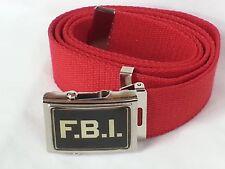 CINTURA IN CANAPA COLORE ROSSO CON LOGO FBI CINTA ROSSA STEMMA F.B.I. MILITARE