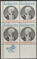 Scott# 1716 - 1977 Commemoratives - 13 cents Marquis de Lafayette Zip Block