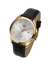 Adi Judaica Watch Alphabet Hebrew Letters, Pearl & Gold, Leather,Water resistant