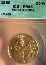 West African States 25 Franc 1980 KM#E9. ICG PF65 Gem Uncirculated PROOF Essai.