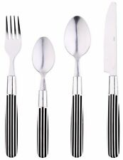 Renberg  24 Piece Stainless Steel Cutlery Set With Black & White Plastic Handles