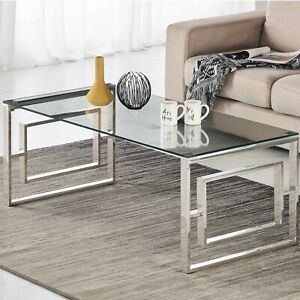 Glass Coffee Table with Clear Tempered Glass and Chrome Inner Square Leg Design