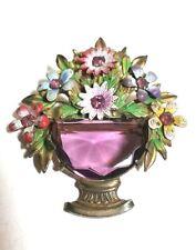 VINTAGE LARGE AMETHYST GLASS ANTIQUE ENAMEL RHINESTONE FLOWER VASE BROOCH PIN