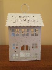 Tea Light House Holder Hanging White Metal Lights Vintage Christmas Decorations