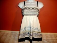 Womens XXI Forever 21 Smocked Boho Hippie Babydoll Embroidered Tank Top S EUC