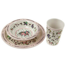 3pc Unicorn Kids Girls Dinner Breakfast Set Melamine Children Plate Bowl Glass