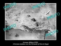 OLD POSTCARD SIZE PHOTO OF GERMAN MILITARY WWI AERIAL VIEW OF PYRAMIDS IN EGYPT