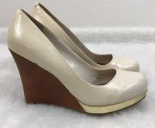 CHARLE By Charles David Women's 8M Ivory Round Toe High Heel Wedge Wood Gold