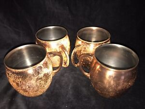 THRESHOLD COPPER PLATED MOSCOW MULE MUG CUPS TANKARD SET 4 Made India Nice Solid