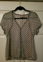 Juicy Couture Beige silk blouse top with flower print - size S Pre Owned