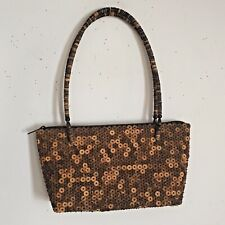 Natural Beaded Shoulder Bag Purse Brown Tones Zip Close Fabric Lined