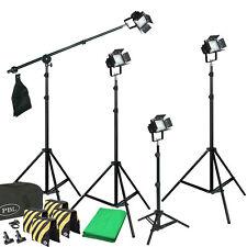 4 Light LED Kit Photography Video Lights Chromakey Backdrop Boom Sandbags